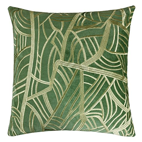 (Homey Cozy Embroidery Green Velvet Throw Pillow Cover,Spring Green Series Rain Leaf Modern Tropical Decorative Sofa Couch Pillow Case 20x20,Cover Only)