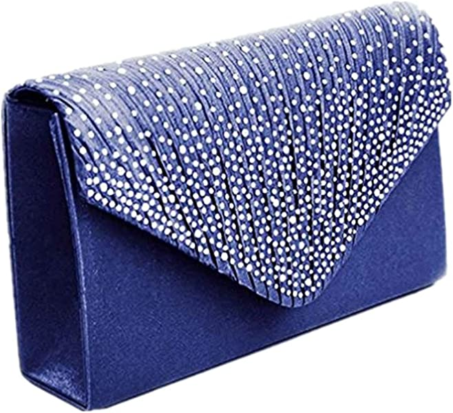 zarupeng Señoras grandes noche satinado nupcial Diamante Ladies embrague bolsa Party Prom sobre