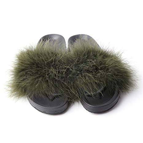4b5fef950 Image Unavailable. Image not available for. Color: Women Fur Slippers Furry  Slide Ostrich Feather Home Slippers Fashion Flip Flops Beach Sandals Summer  ...