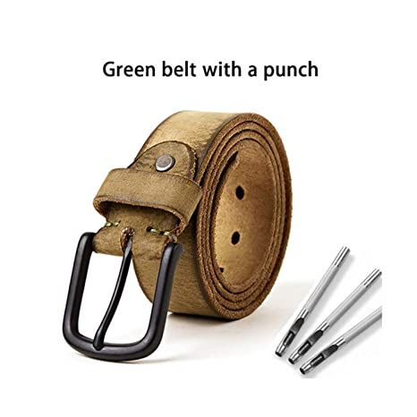 5bf1235058710 luxury genuine leather belt men vintage pin buckle men's belt handmade jeans  strap cowhide young army green color: Amazon.ca: Luggage & Bags