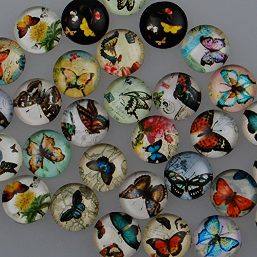 50PCS 10mm Mixed Round Flat Back Handmade Photo Glass Cabochon – Image Glass Cabochons (10029053)