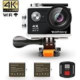 Vansky アクションカメラ 4K 30M防水 1200万画素 2インチ液晶画面 WiFi搭載 リモコン付き 170度広角レンズ ハルメット式 スポーツカメラ バイク/自転車/車に取り付け可能 ウェアラブルカメラ HD動画対応 防犯カメラ・ドライブレコーダーも使用可能