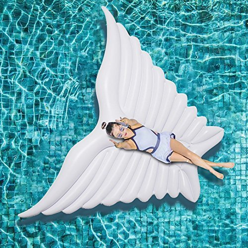 Xiaolv Giant Inflatable Angel's Wing Butterfly Pool Float with Rapid Valves Summer Outdoor Swimming Pool Party Lounge Raft Decorations Toys for Adults & Kids (White) by Xiaolv (Image #1)