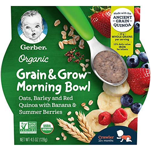 Gerber Up Age Organic Grain & Grow Morning Bowl Oats Barley & Red Quinoa With Banana & Summer Berries, 8Count