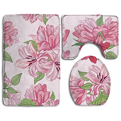 HYEECR Watercolor Pink Flower Non-Slip 3 PCS Bathroom Rug Mats Set, Shower Mat And Soft Toilet Cover Mat, Anti Slippery Rug For Family Men Women Kids, Bathroom Accessory Sets