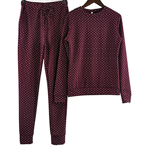 New Fashion Russia Style Tracksuit for Women Costumes 2-Piece Sets Polka Dot Printing Women's Tracksuits Wine Red XL