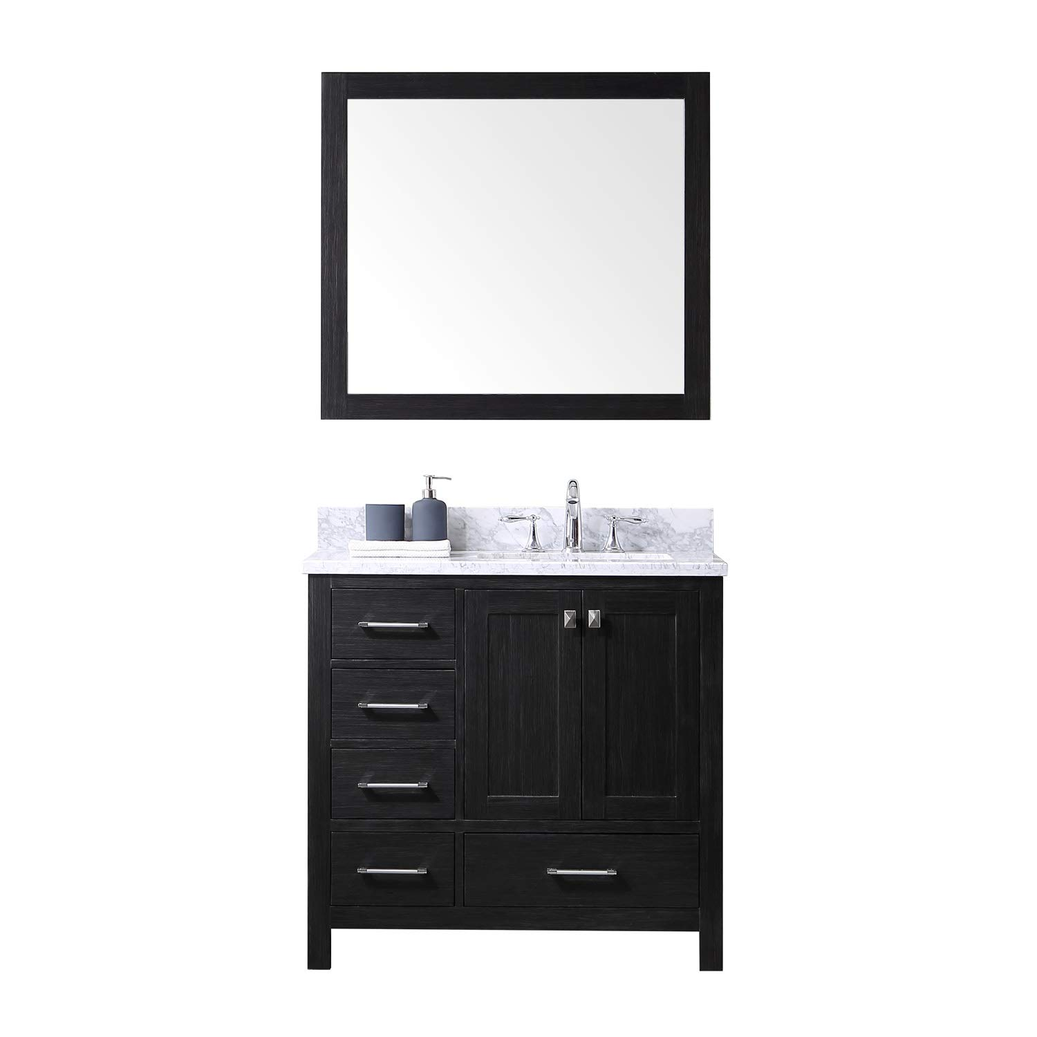 Virtu USA Premium KS-60036L-WMSQ-ZG Caroline Avenue Single Bathroom Vanity Cabinet Set, 36 , Zebra Grey, 36 inches, Gray