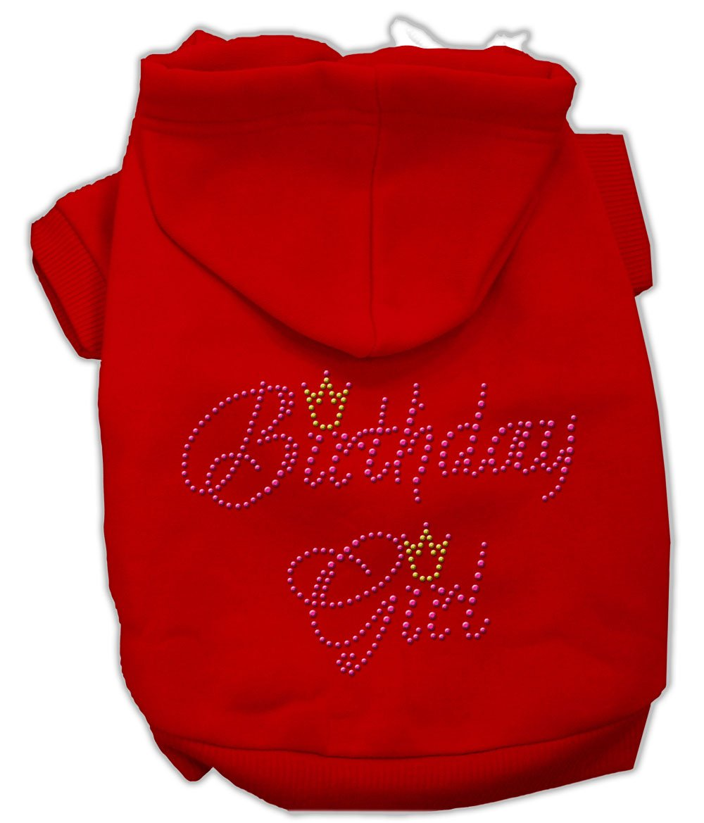 Mirage Pet Products 12-Inch Birthday Girl Hoodies, Medium, Red