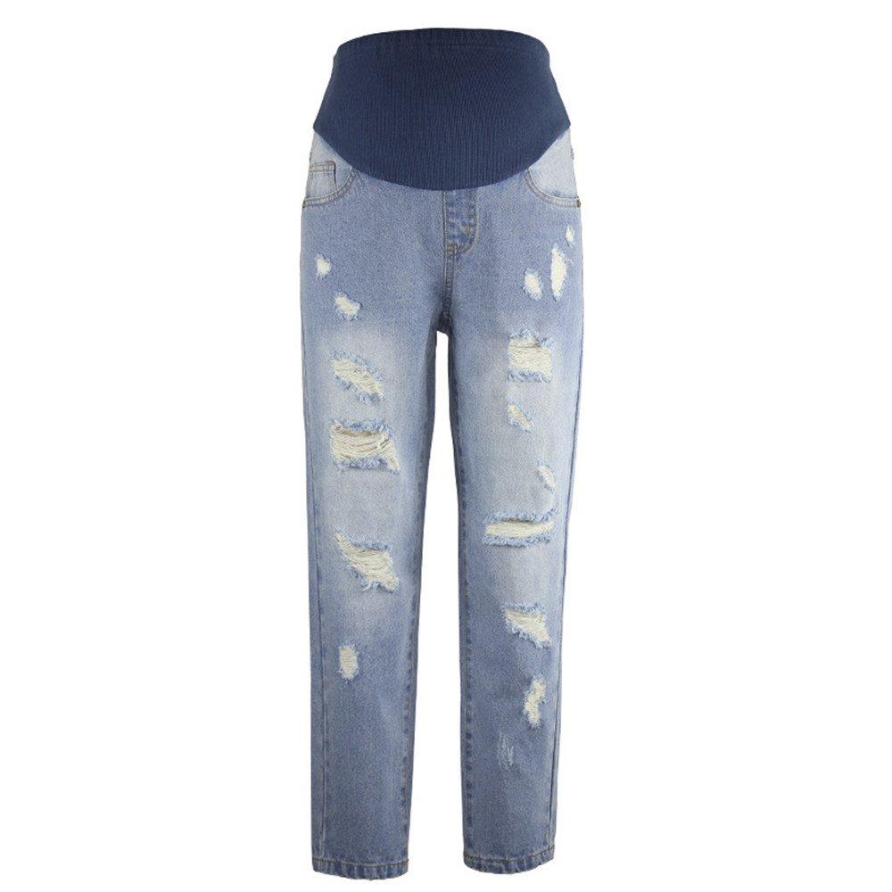 zenicham Women's Comfotable Street Style Ripped Slim Fit Stretch Maternity Jeans Pants ZM-YF1150