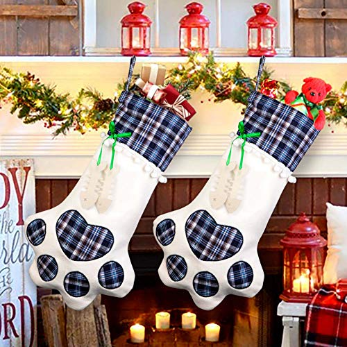 OurWarm Pet Cat Christmas Stocking, Blue Plaid Pet Paw Christmas Stockings for Christmas Fireplace Tree Decorations, 18 x 11 Inch