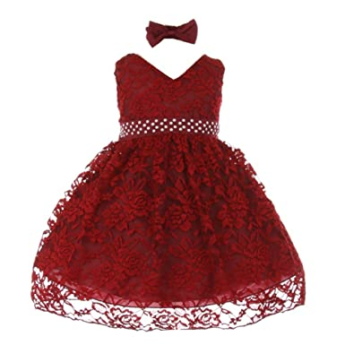 8affac04287 Baby Girls Burgundy Rose Lace Overlay Beaded Sleeveless Occasion Dress 3M