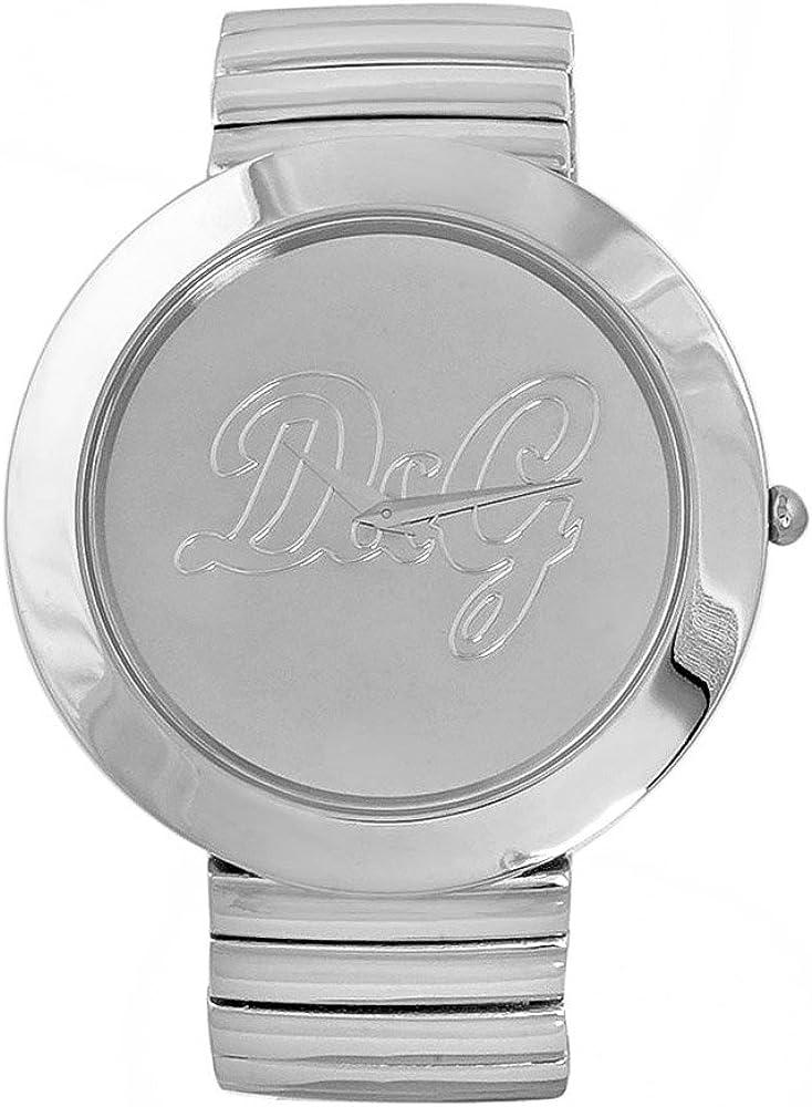D&G Dolce&Gabbana DW0280 - Reloj analógico de mujer de cuarzo con correa de acero inoxidable plateada - sumergible a 30 metros