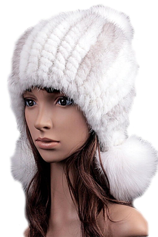 queenshiny Damen 100% Echte Knit Strick Gestrickter Nerz Pelz und Fuchs Pelz Ball Ohrkappe Hut Winter