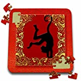 Doreen Erhardt New Year Collection - Chinese Zodiac Year of the Monkey Chinese New Year Red, Gold and Black - 10x10 Inch Puzzle (pzl_101848_2)