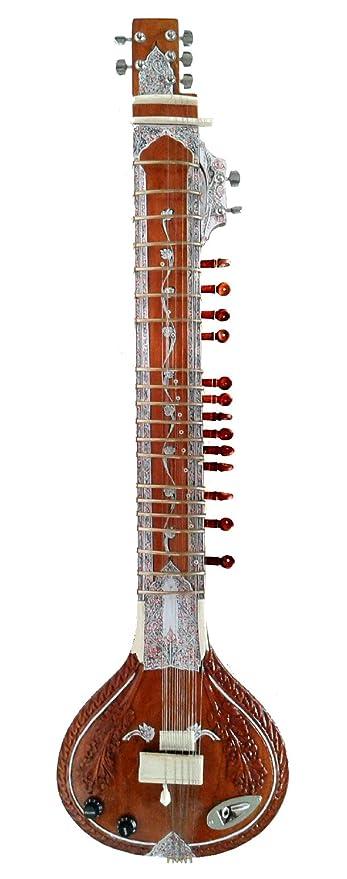 Zurdos indio tallada, Acústico y Eléctrico Profesional Sitar + DVD + cuerdas + Mizrabs