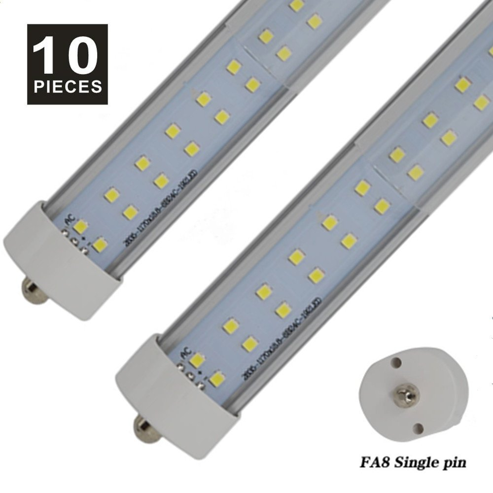 8' T8 T10 T12 90W LED Tube Light [150W Fluorescent Equivalent] 9000lm 6000K Clear FA8 Single Pin Dual-End Powered Fluorescent Tube Retrofit Replacement UL & DLC,Pack of 10 (6000-6500K Clear cover)