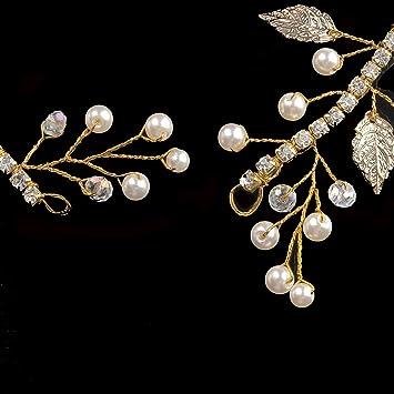 Handcess vite per capelli fascia da sposa leaves Crystal Crown tiara per  sposa e damigelle d  onore (oro)  Amazon.it  Bellezza d6072af7b4f4