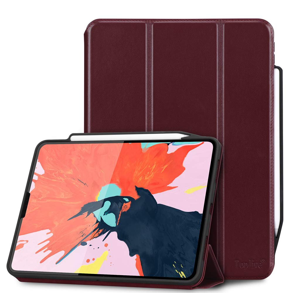 Toplive 高級牛革 本革 iPad Pro 12.9ケース (2018) [Apple Pencil充電対応] スマートスタンドフォリオケースカバー Apple iPad Pro 12.9インチ 2018用 自動スリープ解除機能付き Toplive-2005-iPad-Pro12.9-2018-US-WR  ワインレッド B07LG7V7TZ