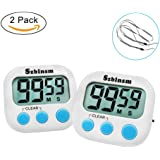 Szblnsm 2 pack Kitchen Timer & Lanyard with Loud Alarm,Magnetic Backin for Cooking Large LCD Display