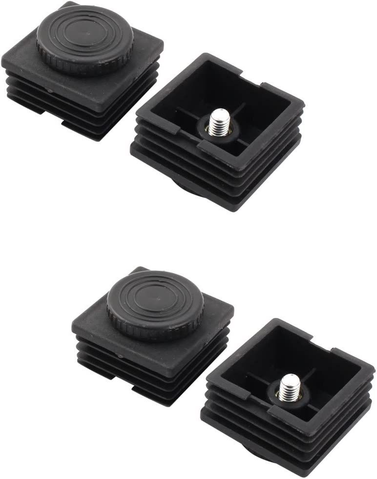 uxcell Furniture Adjustable Leveling Foot Square Tube Insert 50mm x 50mm 4 Sets
