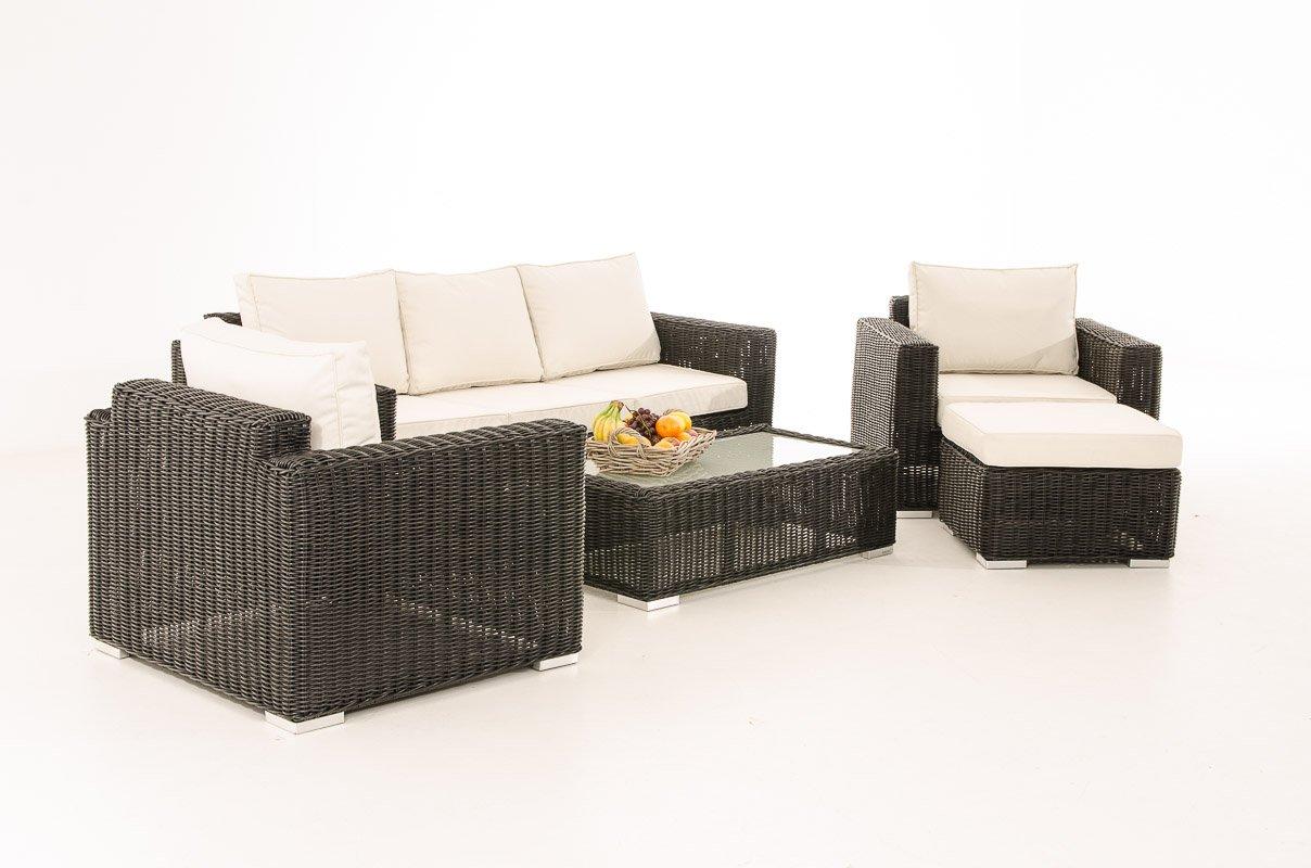 Mendler 3-1-1 Gartengarnitur CP053 Sitzgruppe Lounge-Garnitur Poly-Rattan ~ Kissen cremeweiß, schwarz