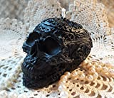 Beeswax Candle Celtic Embossed Decorated Skull Candle in BLACK