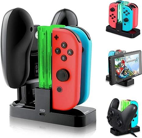Base de Carga 4 en 1 Cargador para Nintendo Switch Joy-Con Chargers Dock con Indicador LED: Amazon.es: Electrónica