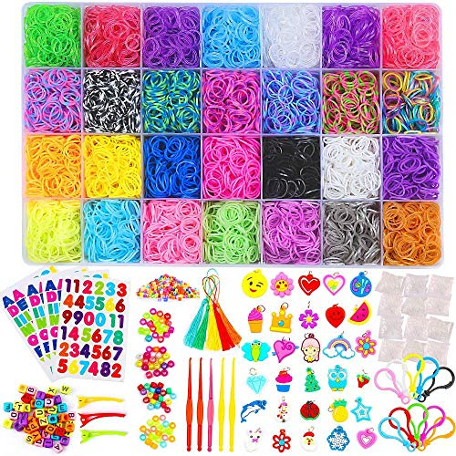11900+ Rainbow Rubber Bands Refill Kit, 11,000 Loom Bands, 600 S-Clips, 52 ABC Beads, 30 Charms, 10 Backpack Hooks, 200 Beads, 5 Tassels, 5 Crochet Hooks, 3 Hair Clips, ABC Stickers by INSCRAFT]()