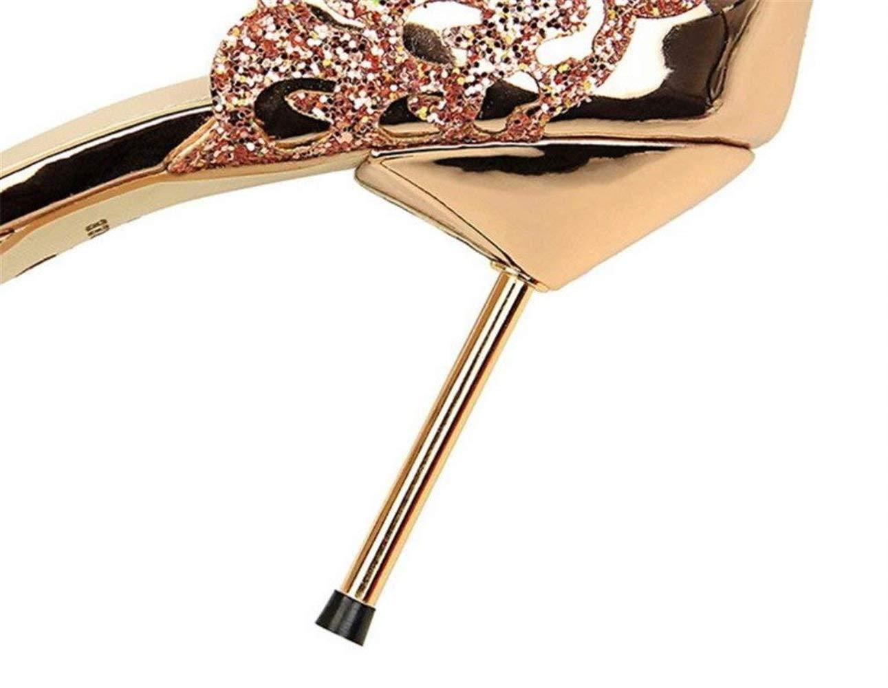 Moontang Stöckelabsatz Stöckelabsatz Stöckelabsatz Damen Damen Plateau High Heel Peep Toe Kreuz über Riemchen Sandalen Schuhe (Farbe   Gold, Größe   EU40) a58882