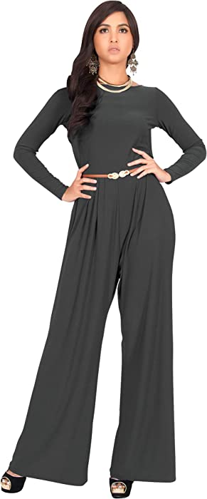 5628f4a7d12 KOH KOH Womens Long Sleeve Sleeves Wide Leg with Belt Formal Elegant  Cocktail Party Fall Pant