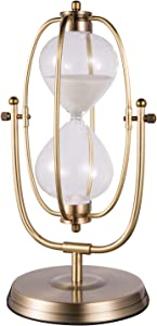 KSMA Rotating Hourglass 30 Minutes,Brass-Tone Hour Glass Sand Timer for Vintage Home Décor Wedding Gift