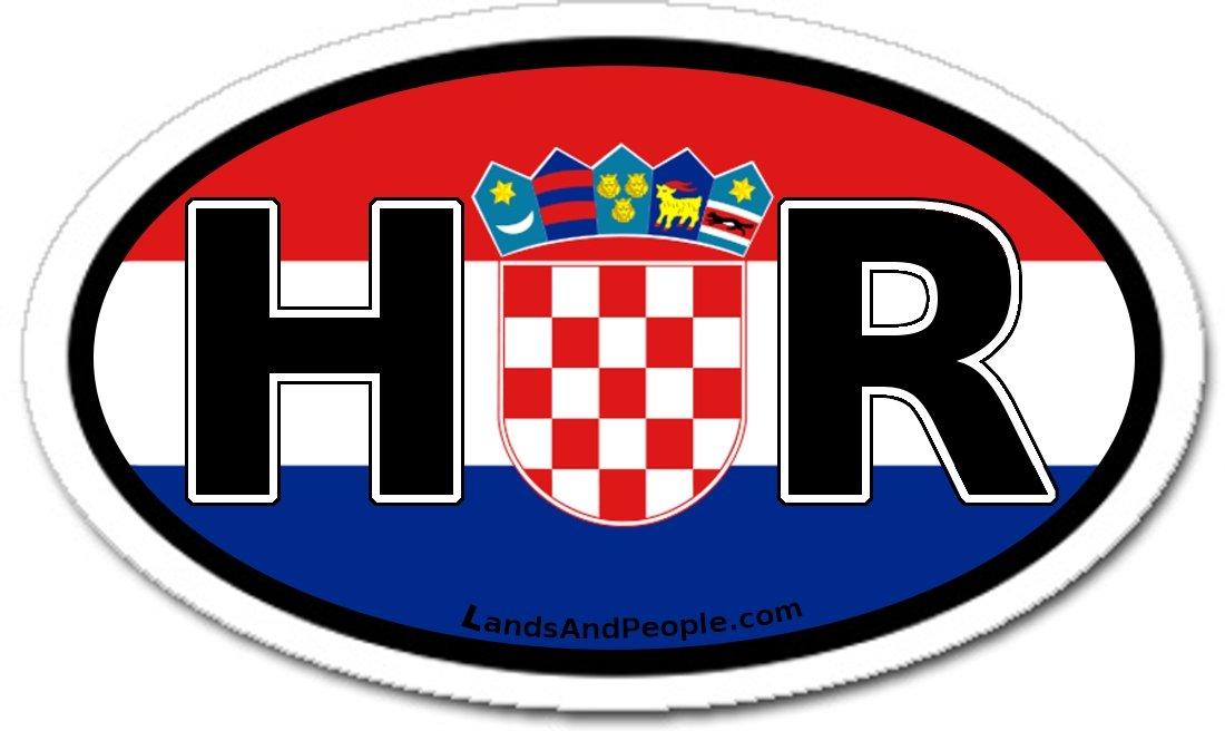 HR Hrvatska Croacia Croatia Calcoman/ía Pegatina Bandera de Croacia para Coche 7.6 cm x 12.7 cm Vinilo Ovalado