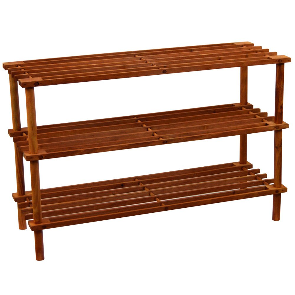Home Vida 3 Tier Shoe Stand Rack, Wood, Walnut Lassic 333231