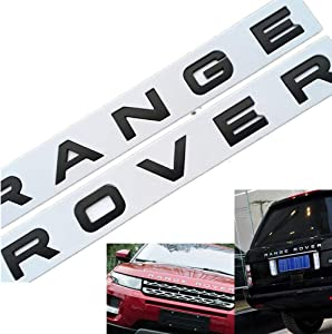 1Set 3D Head Cover Hood Front Letters Emblem Sports Line Badge Letter Emblem for Range Rover L-a-n-d R-o-v-e-r car Stickers Decal Logo (Matte black)