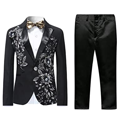 048416e7e613d Boys Black Tuxedo Wedding Suits 2 Piece Dinner Prom Perform Party ...
