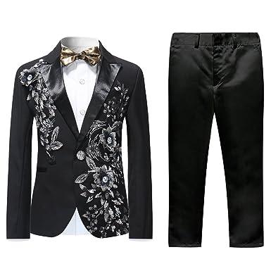 108cb7bf84 Boys Black Tuxedo Wedding Suits 2 Piece Dinner Prom Perform Party Formal  Wear Slim Fit Blazer
