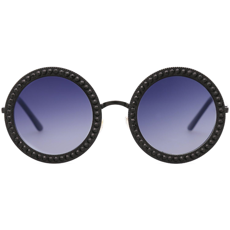 a4cb36a7d20b6 Amazon.com  SOJOS Round Oversized Rhinestone Sunglasses for Women Diamond  Shades SJ1095 with Black Frame Gradient Grey Lens with Black Diamond   Clothing