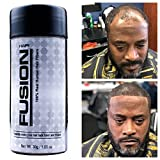 HAIR FUSION - 100% Real Human Hair Fibers - Conceal bald and thinning hair - Root touch up - Volumizer - Unisex (1.05 oz, Black)