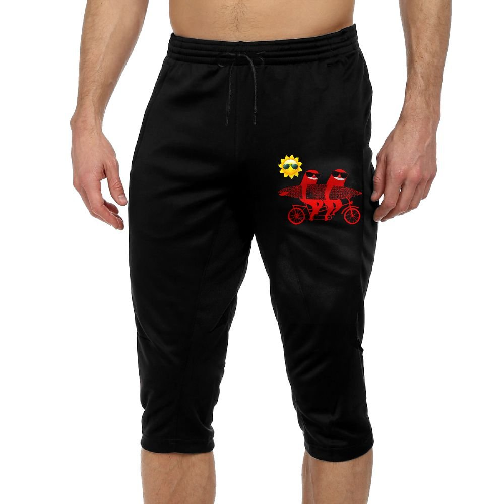 Surfing Tandem Sloths Bicycle Skateboard In Sunny Day Boys Performance Three-Quarter Drawcord Crop Jogger Pants L by VSFP