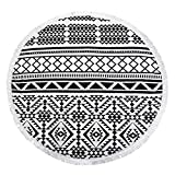 Szezon Beach Towel, Mandala Beach Towel Microfiber Large Round Beach Towel Blanket with Tassels Ultra Soft Super Water Absorbent Multi-Purpose Towel 59 inch Across (NO1)