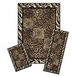 Modern Safari Leopard Tiger Animal Print Bordered 3 Piece Combo Runner Mats Area Rug Set