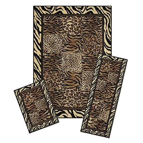 Modern Safari Leopard Tiger Animal Print Bordered 3 Piece Combo Runner Mats Area Rug Set by Area Rug Sets