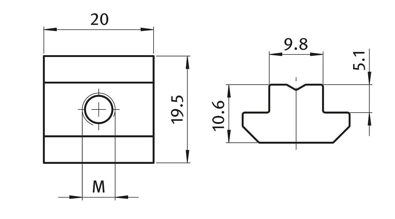 Stahl verzinkt schwer Typ B M6 mit Steg 10x Nutenstein Nut 10