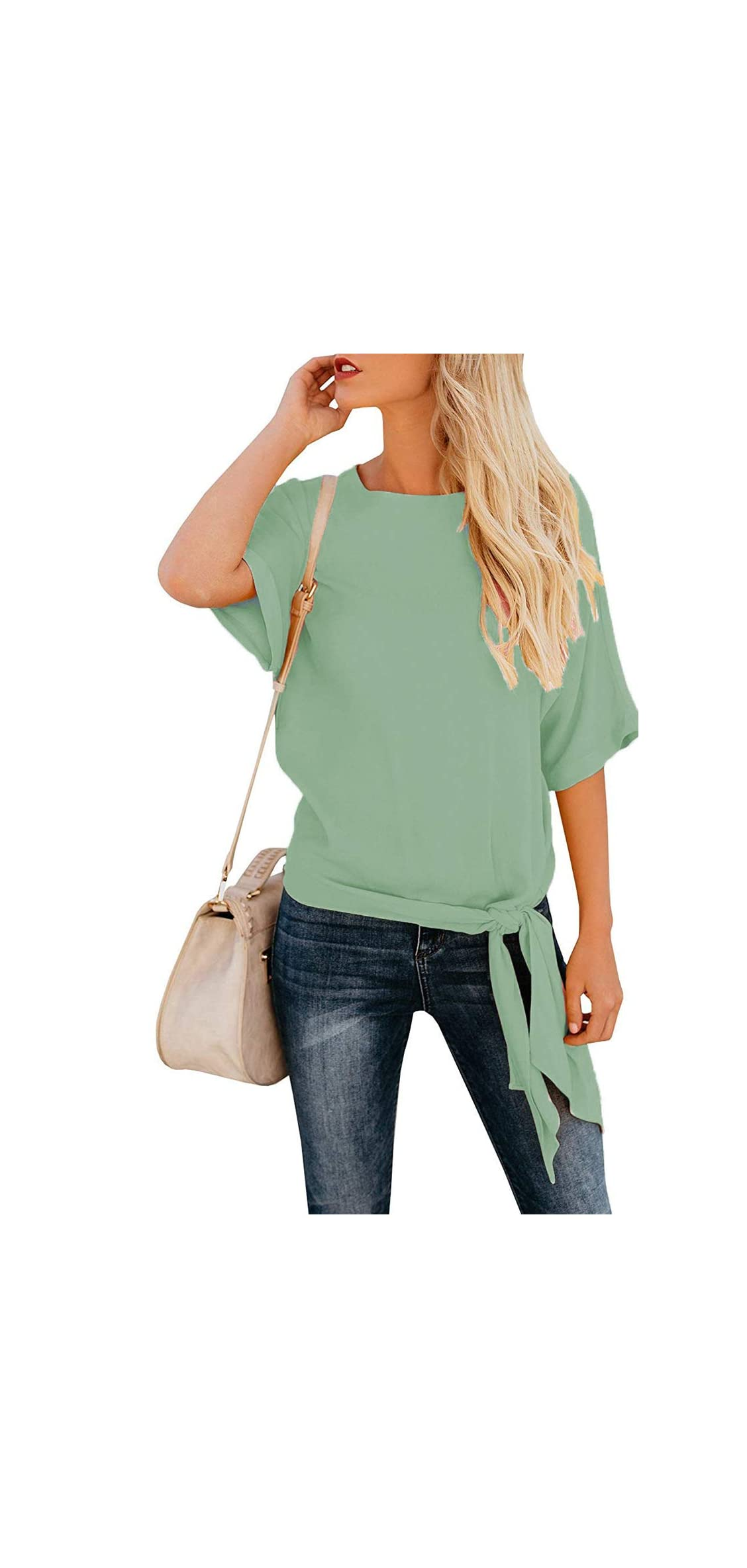 Women's Casual Knot Tie Front Half Sleeve Summer T Shirt