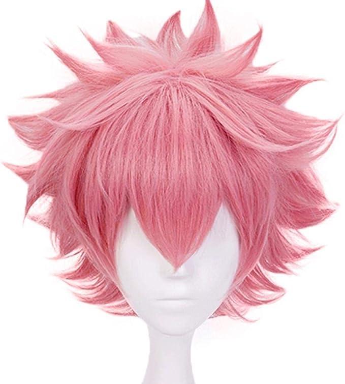 LZT Short Light Pink Mina Ashido peluca Anime Cosplay peluca para mi h/¡/§?roe Academia Mina Ashido peluca sint/¡/§?tica con gorro peluca gratis