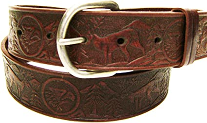 Modestone Native Embossed Pattern Leather Belt 1 1//4 Width 1//8 Thick