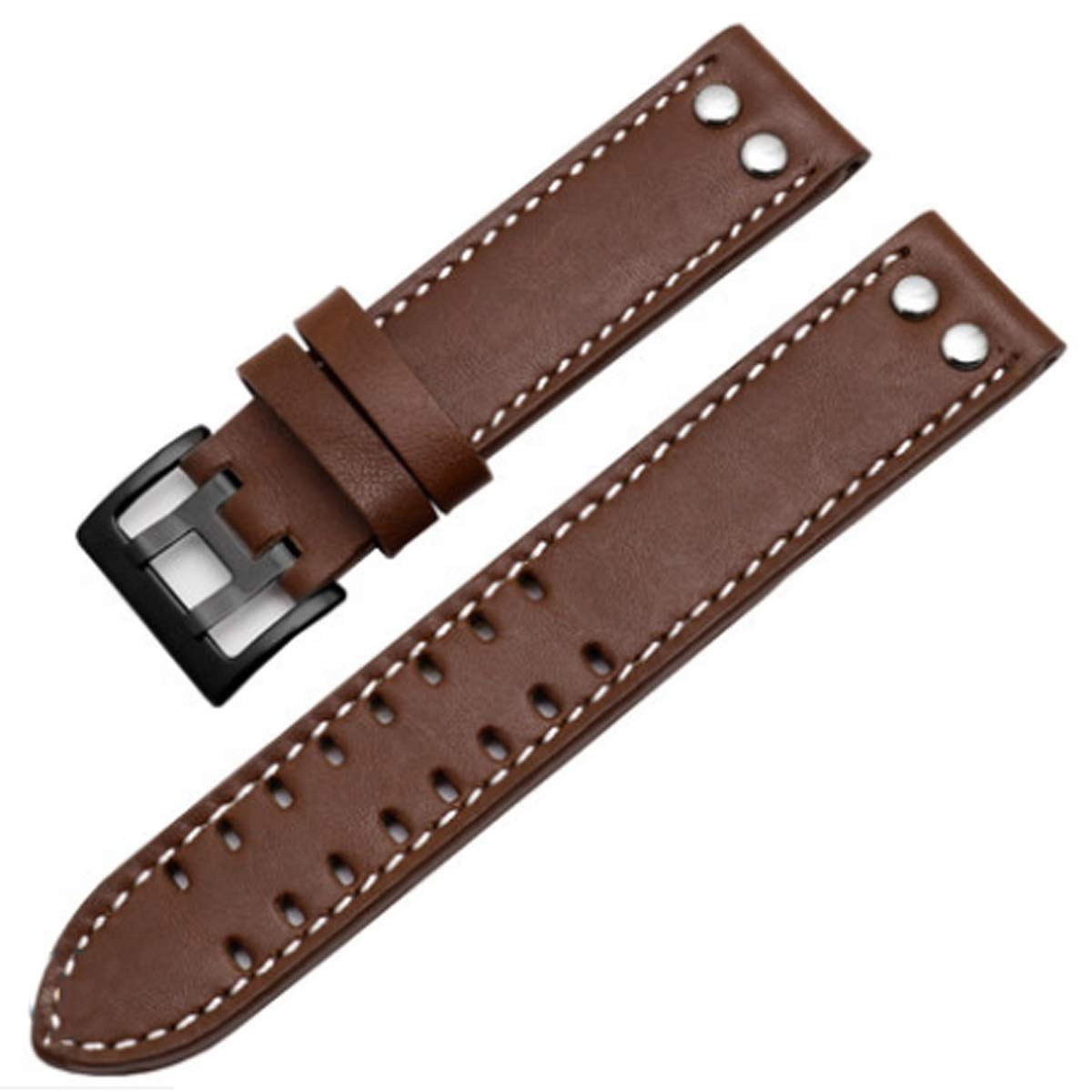 20mm / 22mm Leather Watch Band Strap Fits for Hamilton Khaki Field Aviation H70595593 (22mm, Smooth Brown(Black Buckle))