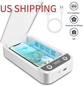 UV Cell Phone Sanitizer, Portable UV Light Cell Phone Sterilizer, Aromatherapy Function Disinfector, Cell Phone Cleaners UV Light Sanitzier Box for iOS Android Smartphones Jewelry Watch