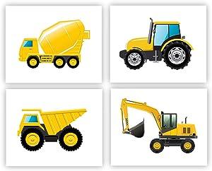 "Construction Trucks Wall Art Posters Cartoon Transport Vehicle Art Print Set of 4 (10""X8""Creative Construction Vehicle Art Decor Kids Boys Nursery Bedroom Construction Wall Decor (Unframed)"