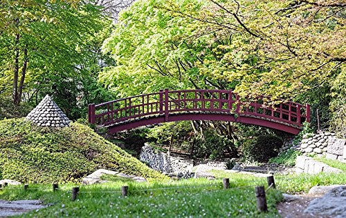 Home Comforts Print on Metal Red Bridge Bridge Albert Kahn Garden Japanese Garden Print 12 x 18. Worry Free Wall Installation - Shadow Mount is Included.